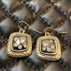 Anthropologie Jewelry - Anthropology Silver Metal Crystal Dangle Earrings